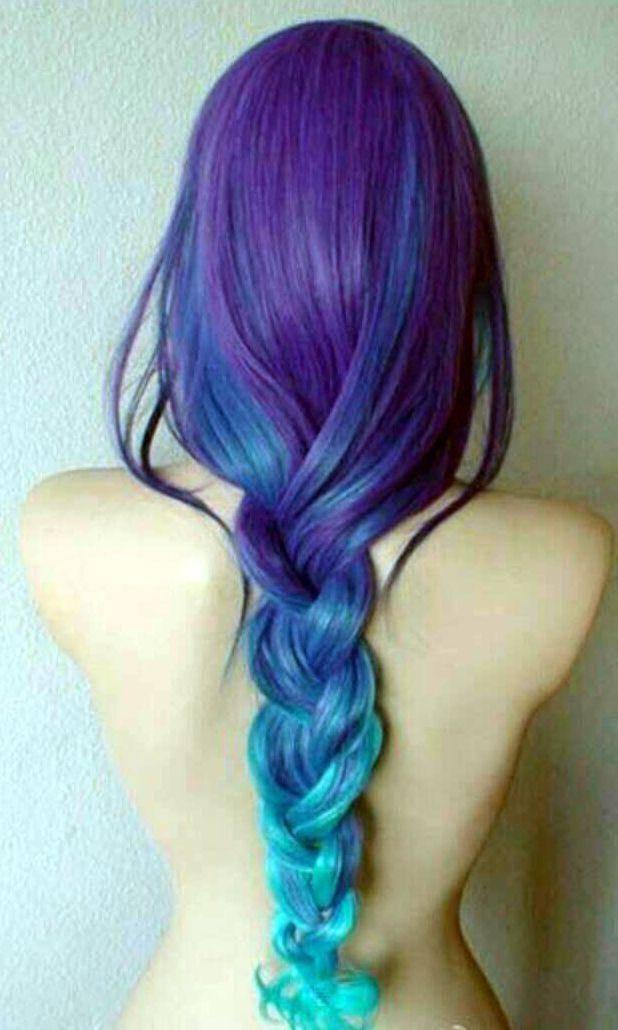 蓝色渐变色头发图片展示