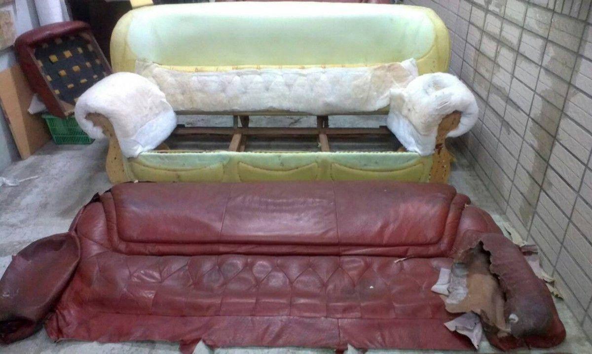 接著就是把沙發皮整個拆下來,準備等一下的製版作業 !三人座牛皮沙發修理請找吉昌傢俱沙發工廠