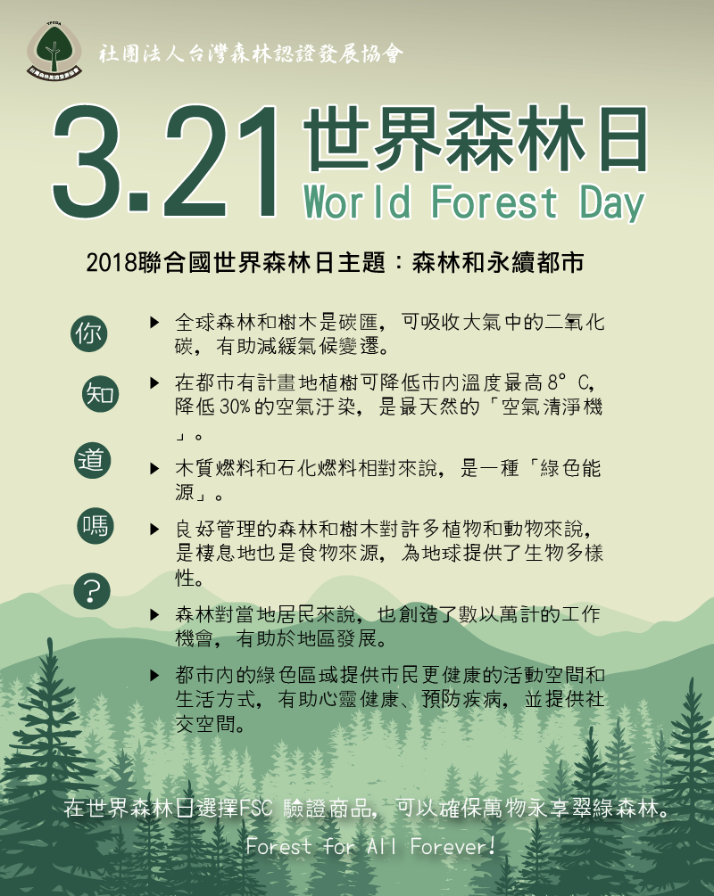 2018 世界森林日 (World Forest Day)