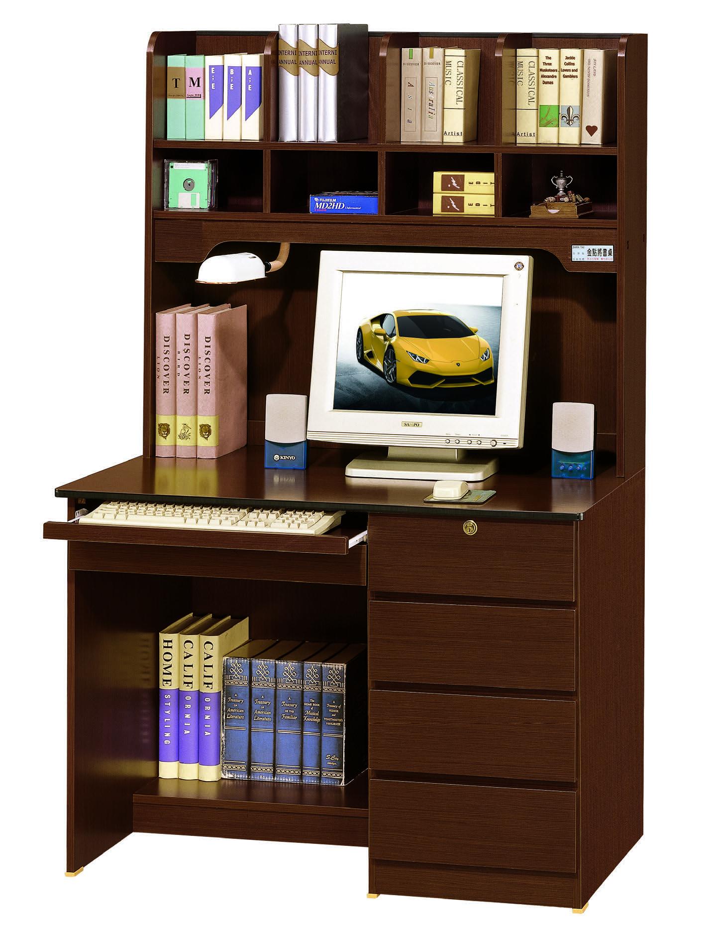 B018-390-4 資訊3.5尺胡桃電腦書桌(上+下)