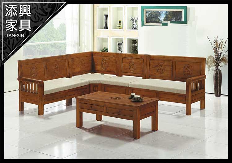 【沙發】 【添興家具】 P304-5 娜拉柚木L型組椅 (不拆賣)(9874含坐墊含大茶几)  大台北地區滿5千免運