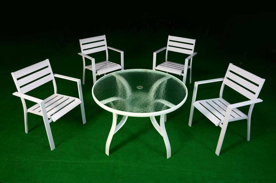 鋁合金鋁板105玻璃圓桌組