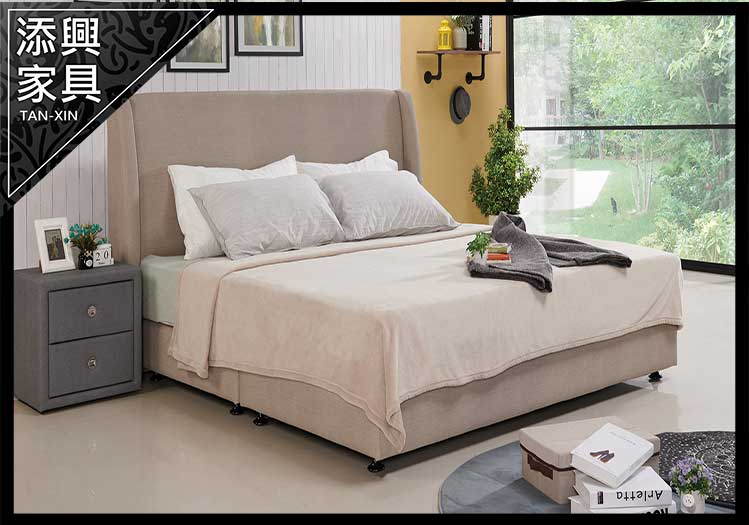 【床】 【添興家具】 A576-3 芝加哥 5 尺棕色貓抓皮 雙人床  大台北地區滿5千免運