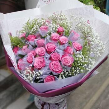 《紫愛你》33朵紫玫瑰花束