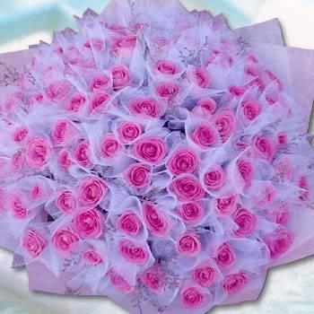 《夢幻新娘》108朵紫天王包紗求婚花束