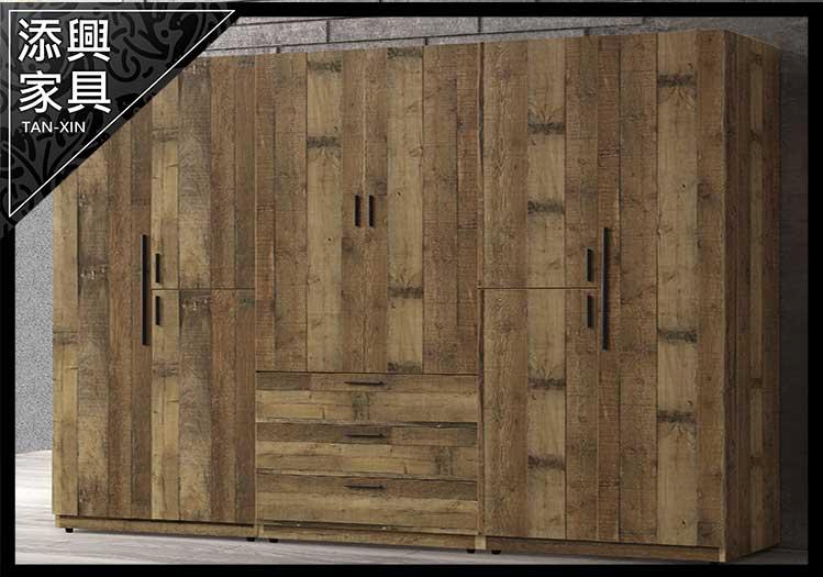 【衣櫃】 【添興家具】 A523-8 雀巢2.5尺厚切木紋三門雙吊隔板衣櫃 左  大台北地區滿5千免運