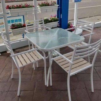 塑木玻璃方桌組-白色 Coffee Style