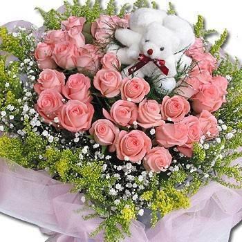 《我愛你》小熊玫瑰情人節花束