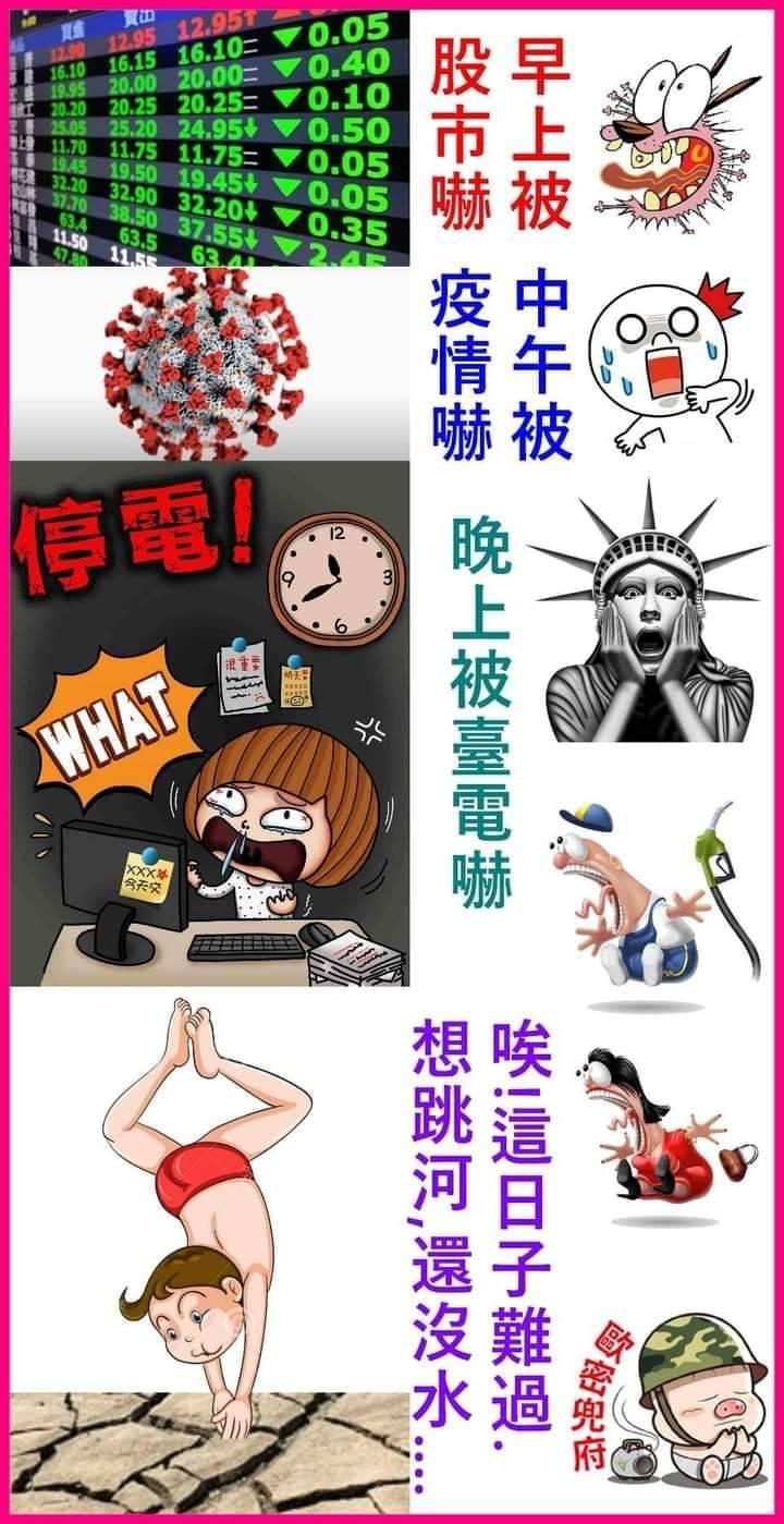 非常時期~網友自娛現在台灣每天三等...
