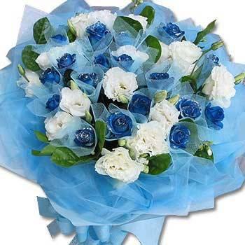 《深情脈脈》深情浪漫藍玫瑰花束