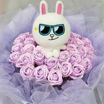 《Line 我》代購Line兔+33朵玫瑰皂花