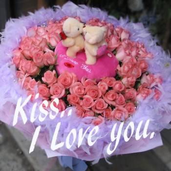 《Kiss, I love u》Kiss情侶熊99朵粉玫瑰花束