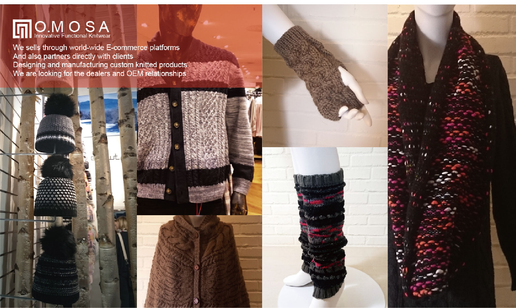 O.MOSA fashion and functional knitted accessories and sweaters.