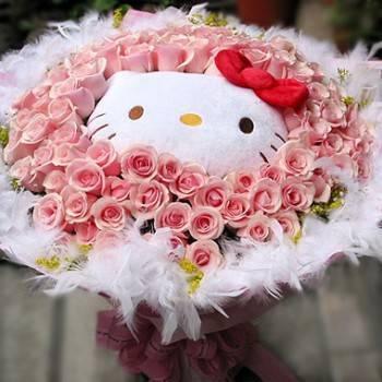 《堅貞愛情》代購kitty玩偶+99朵鐵達尼玫瑰花