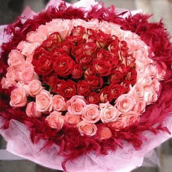《同心緣》99朵雙色圓心玫瑰花束《花店情人節精選》
