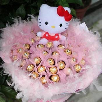 《可愛寶貝》代購kitty玩偶+50朵金莎花束