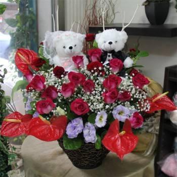 《美滿良緣》婚侶熊精緻桌上盆花