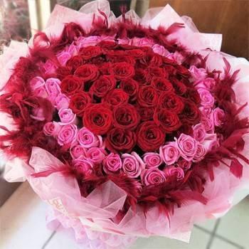《今世情緣》99朵雙色圓心紫天王玫瑰花束