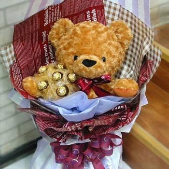 《寶貝甜心》18吋泰迪熊捧金莎花束