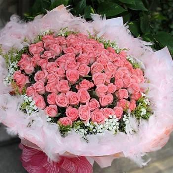《心意》99朵粉紅玫瑰花束
