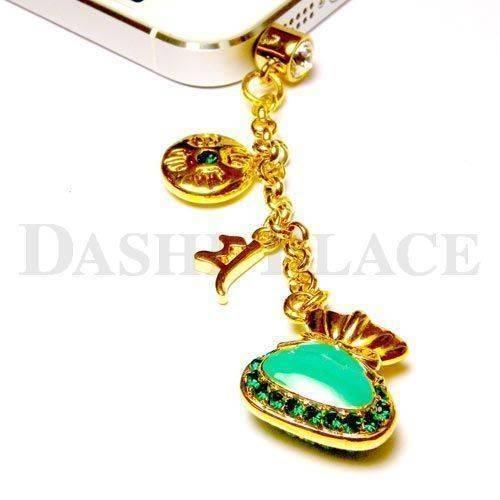 手機吊飾-金綠-財寶-羯摩-種子字