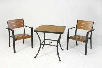 鋁合金70塑木方桌組