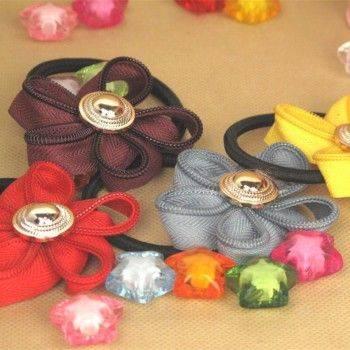 小物宅配-時尚拉鍊齒邊花朵金釦髮圈/金扣束髮帶/髮繩/花朵頭飾/橡皮繩綁髮帶 Lohogo樂活趣