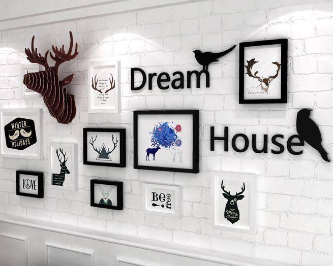 11框北歐黑白麋鹿+小鳥字母款