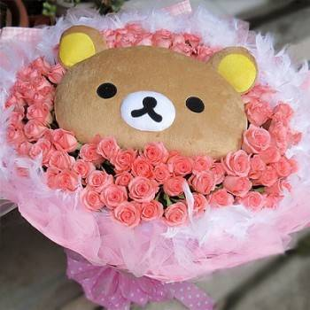 《熊愛你》代購LaLa熊玩偶+99朵粉玫瑰花束
