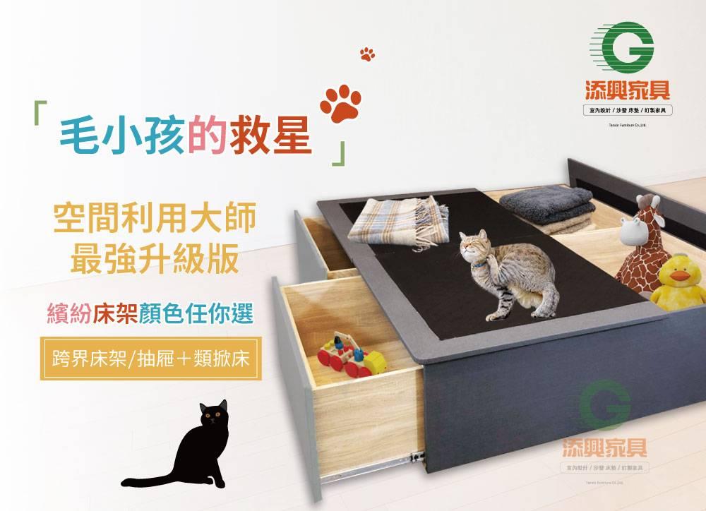 【抽屜床】【添興家具】TS1979 B+B+B型空間利用大師/貓抓皮版 抽屜專利床底* 規格可訂製/抽屜床/收納床/加高版