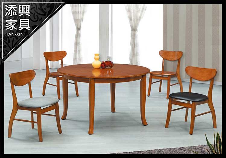 【餐桌】 【添興家具】 E608-1 柚木色4尺圓桌 大台北地區滿5千免運