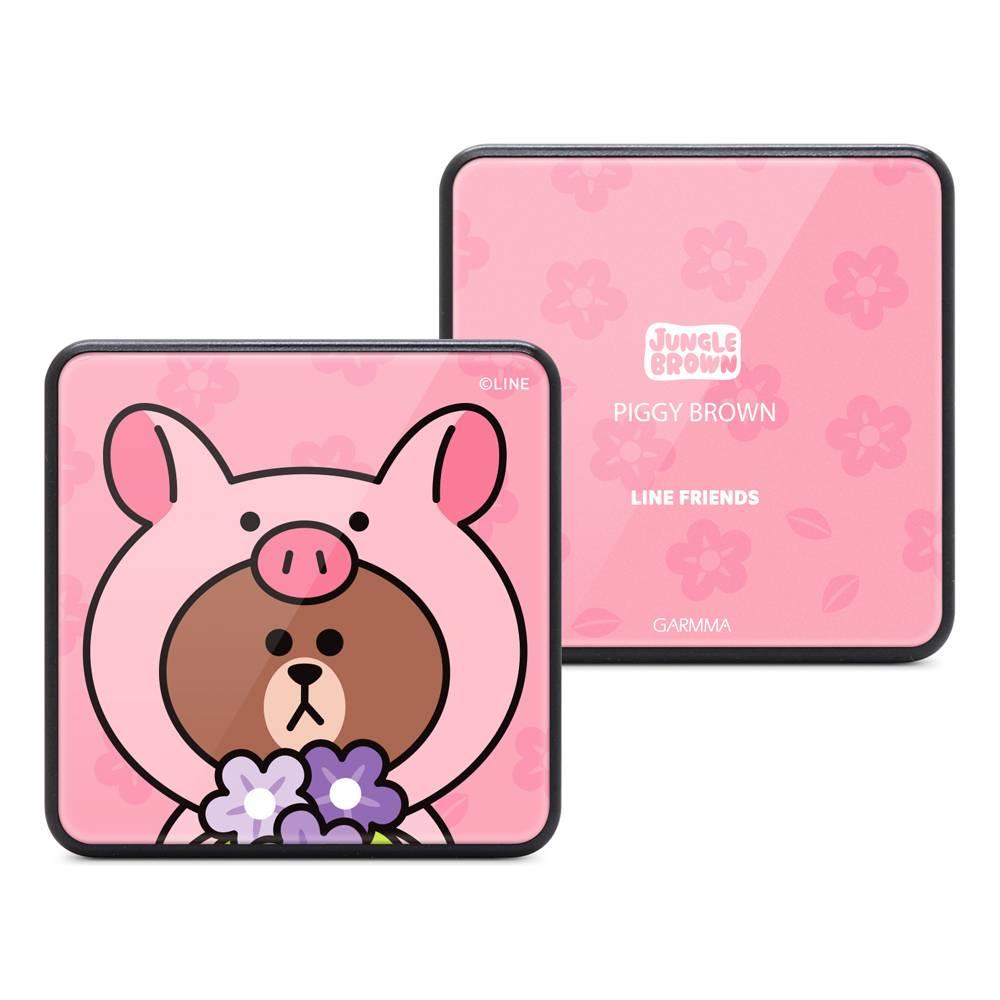 GARMMA LINE FRIENDS 玻璃鏡面行動電源 叢林系列 小豬熊大