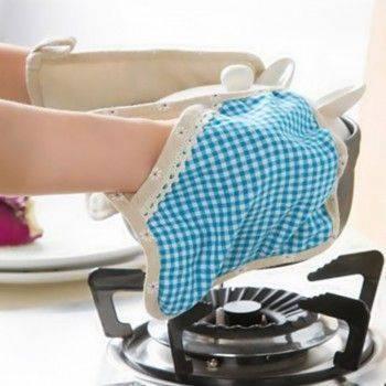 Zakka 棉麻布藝隔熱手套/小雛菊格子隔熱墊/多功能餐墊/加厚隔熱手套/可吊掛布藝餐具收納袋 -1入