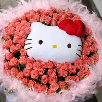 《粉愛》代購kitty玩偶+99朵玫瑰花束