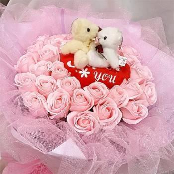 《情網》Kiss情侶熊33朵粉玫瑰皂花