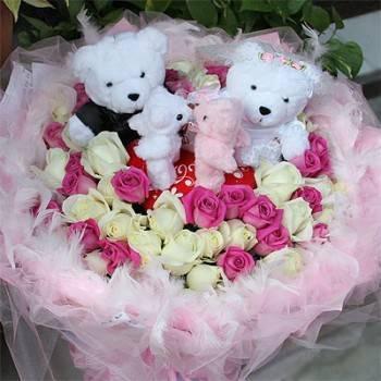 《幸福伴侶》婚侶熊Kiss情侶99朵翡翠白紫天王玫瑰花束
