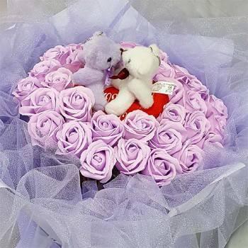 《紫愛你》Kiss情侶熊33朵玫瑰皂花
