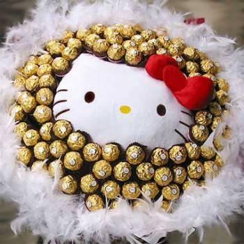 《純真愛情》代購kitty玩偶+99朵金莎巧克力花束
