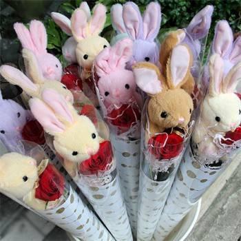 婚禮小物-﹝套袋兔(熊)+玫瑰﹞30束裝(單價每束180元)