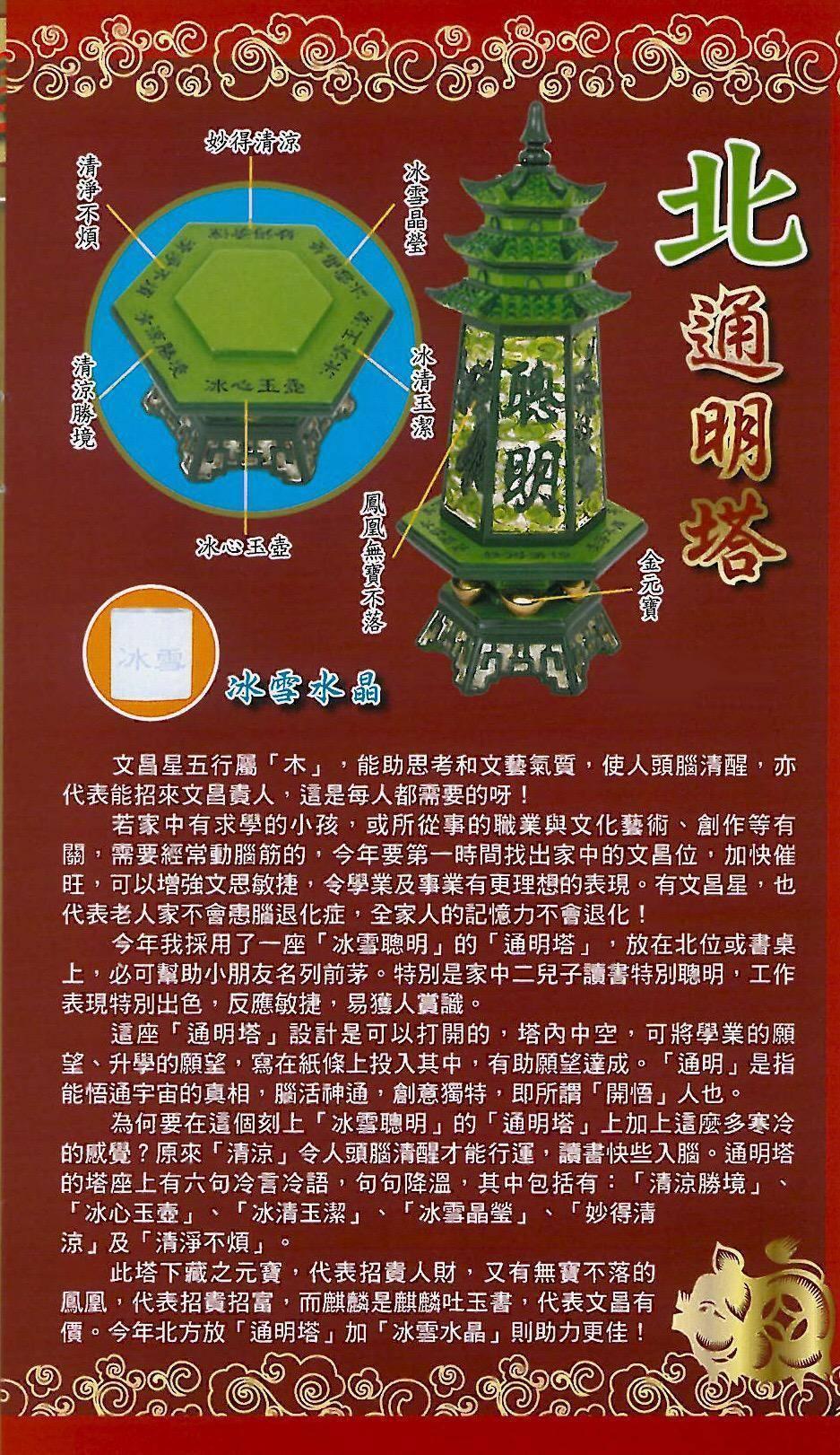 2019北-通明塔.四綠(文昌貴人)(另購冰雪水晶) 2019010