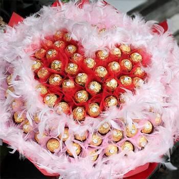 《真愛的心》心型雙色紗99朵金莎巧克力花束