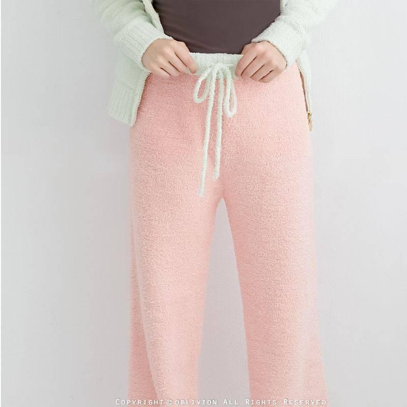 女暖綿綿腰抽繩長褲