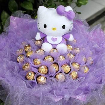《紫愛寶貝》代購kitty玩偶+50朵金莎花束