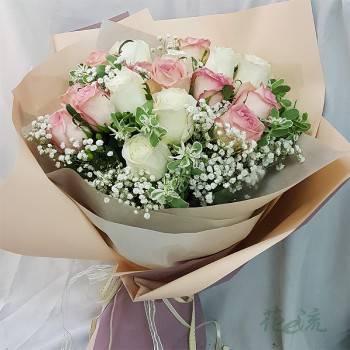 《含情脈脈》20朵進口大朵玫瑰花束