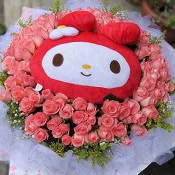 《甜美女孩》代購Meldy玩偶+99朵玫瑰花束