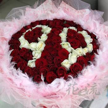 《99》字樣99朵玫瑰花束(數字雙字樣)