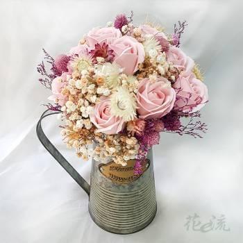 《少女心》粉彩花壺裝飾乾燥花