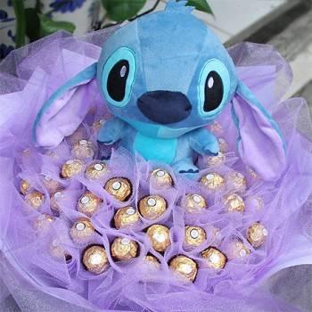 10吋史迪奇玩偶+50朵金莎巧克力花束