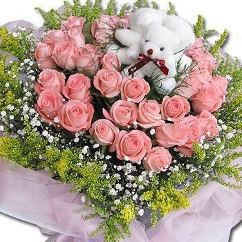 《我愛你》小熊玫瑰花束