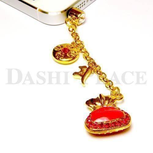手機吊飾-金紅-財寶-羯摩-種子字